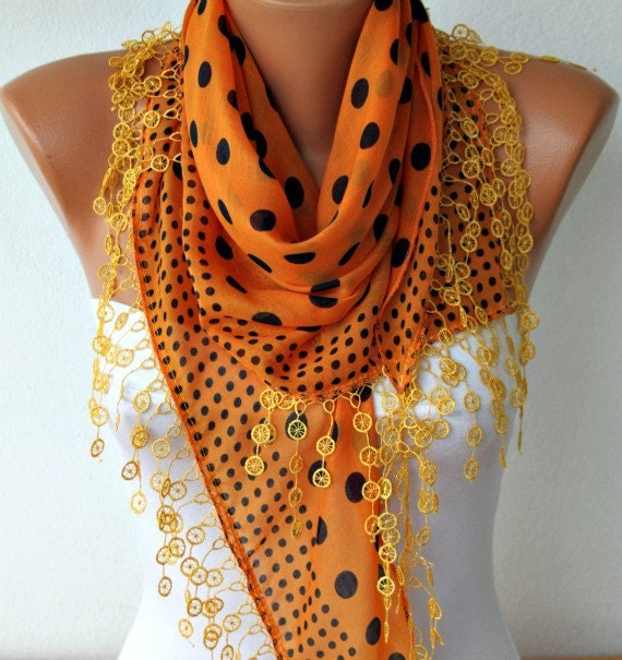 Polka Dot  Scarf -  Cotton Scarves -  Cowl Scarf - Shawl  with  Lace Edge - Orange - fatwoman