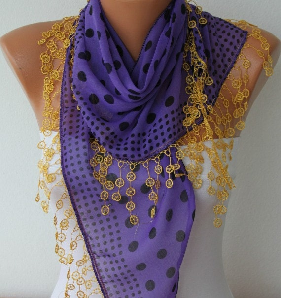 Purple & Yellow Polka Dot  Scarf Shawl Scarf  Cotton Scarves - Cowl Scarf Women's Fashion Accessories - fatwoman