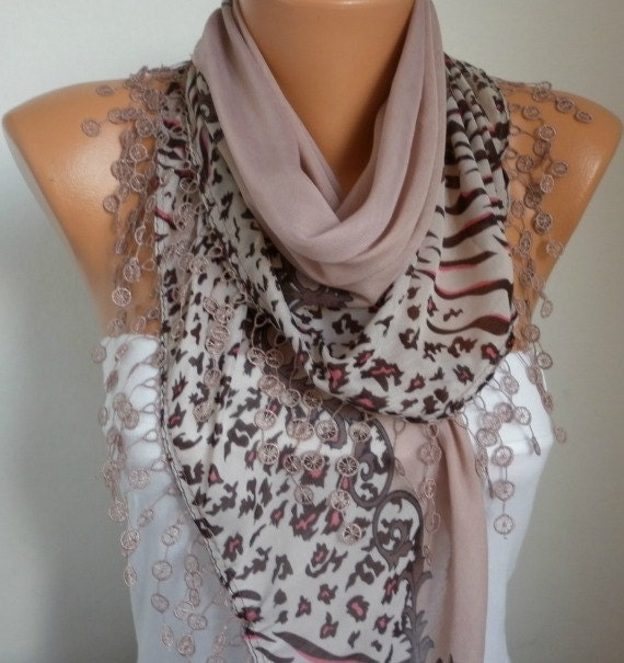 ON SALE - Scarf Shawl - Cotton Weddings Scarves - Cowl with Lace Edge - Rosy Brown