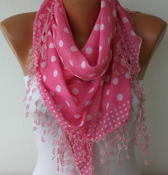 Polka Dot  Shawl Scarf -  Cotton Scarves -  Cowl with  Lace Edge - Pink