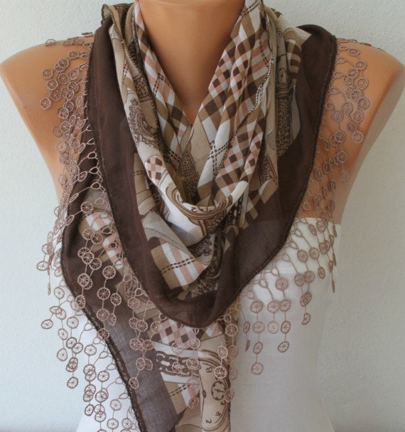 Cotton Scarf  -  Cowl Scarf - Shawl  with Lace Edge - Brown Tones