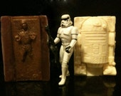 Star Wars Soap Set: Han Solo In Carbonite & R2D2- Stocking Stuffer For Guys, Hot Chocolate and Mint Scented