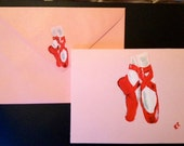 Fine Art Red ballet shoes hand painted blank greetings card customised uk ballerina dancing