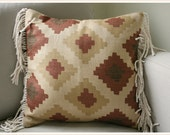 Southwest Pattern Woven Throw Pillow with Vintage Fringe 16 x 16