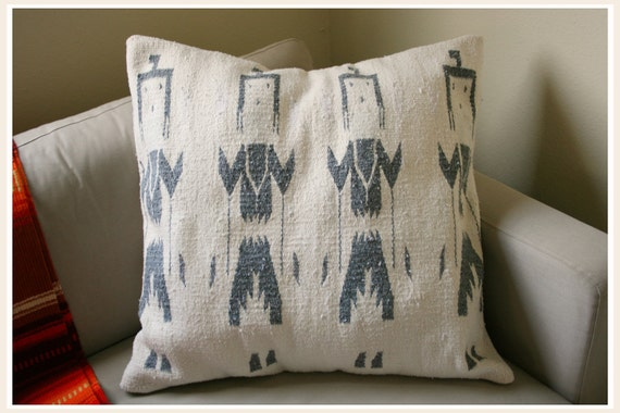 Extra Large Tribal Warriors Vintage Blanket Floor Pillow