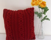 Knitted XOXO cushion cover with cables red 14x14 inches