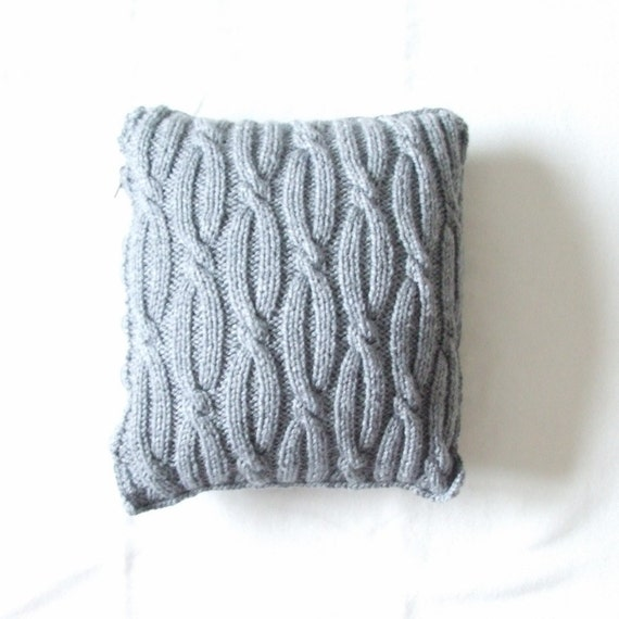 Cushion cover knitted with cables grey 14x14 by SantasSockCentral