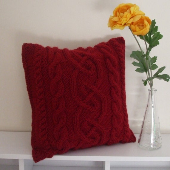 Knitted red cushion cover with cables - small CIJ Sale 10 % off coupon code CIJ2012