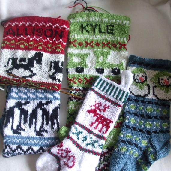 Knitted Christmas Stockings Custom listing for Melissa - set of 5