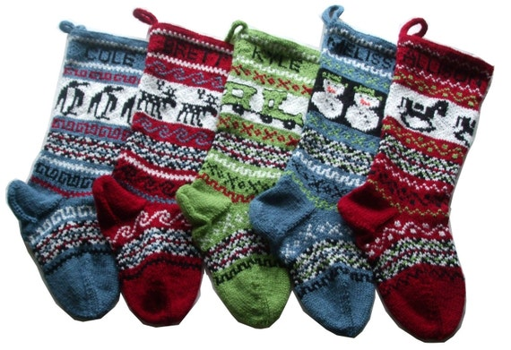 CIJ Sale 10% off Personalized knitted Christmas Stockings Set of 5