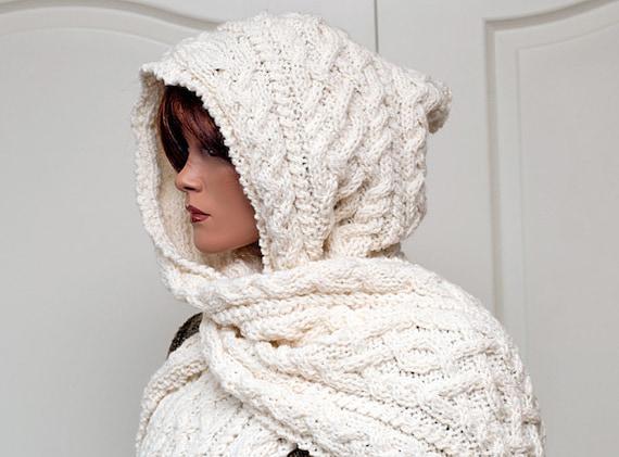 "Knitting Pattern for Hooded Scarf ""Lilja"""