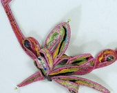 Textile neckpiece in pink with multi-colour contrasts - Beautiful, unusual handmade art by Wai Yuk Kennedy