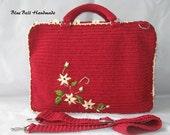 FLOWER PAINTING  Crochet laptop bags BK002