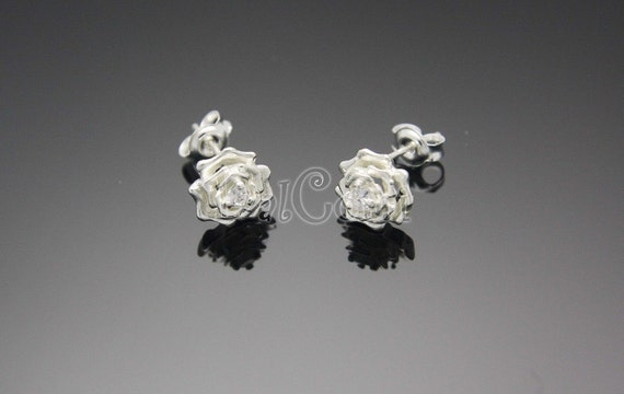 FIRESALE)  A05-Silver Elegant Rose Stud Earrings with CZ