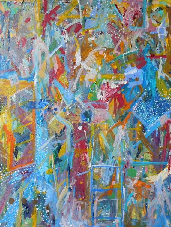 Original 22x28 Acrylic Painting -- Abstract, Colorful