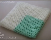 Mint Green and White Baby Granny Snuggle Blanket