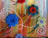 Flying Flowers Handmade Crochet Mixed Media Painting