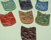 Kitty Cat Pendant Pottery Ceramic your choice of color