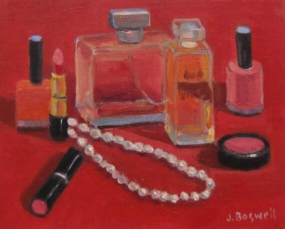 "Jennifer Boswell Original Modern Impressionist Oil Painting Still Life ""Pearls and Perfume"""