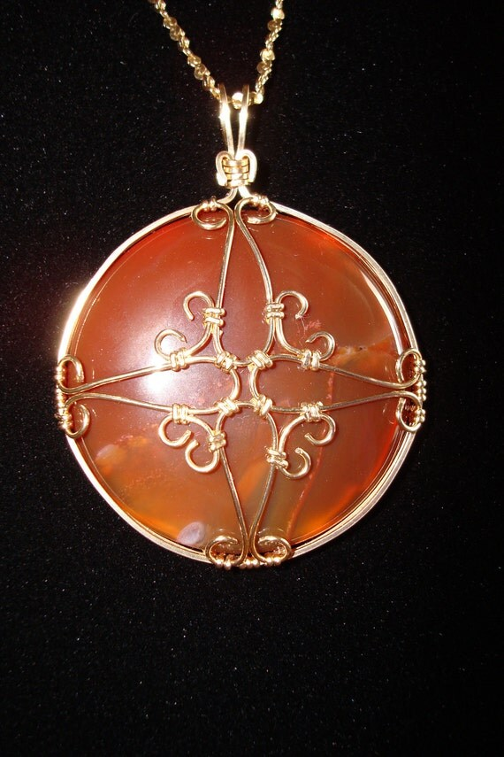 Pendant- Wire Wrap, Gold, Red, Brown, Carnelian, Filigree
