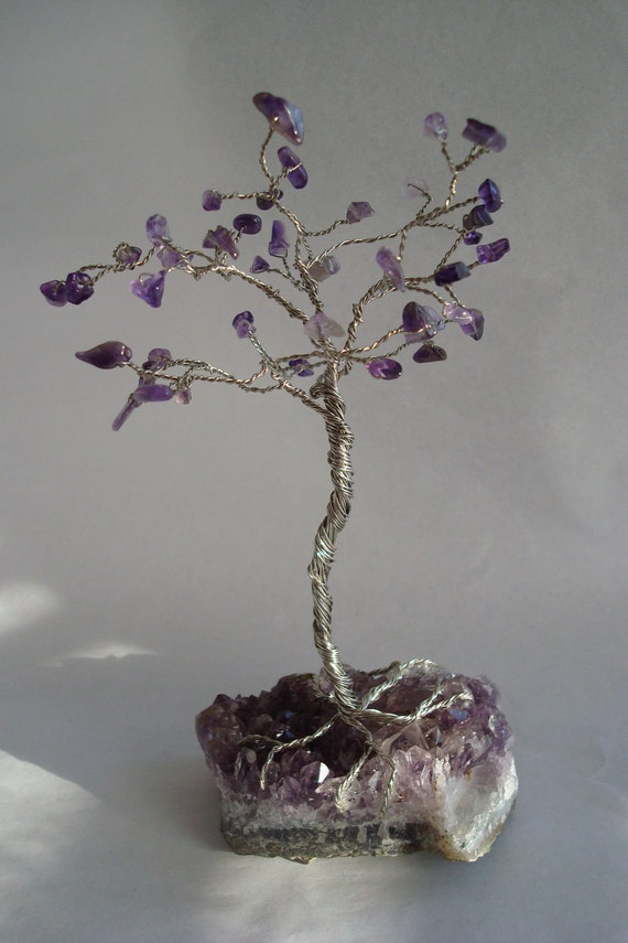 Gemstone Tree- Wire Wrap, Purple, Amethyst, Silver