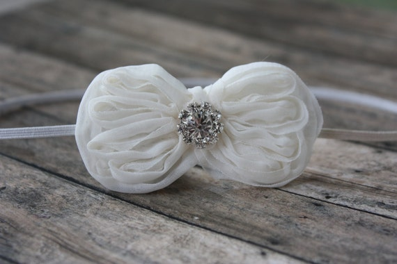 Chiffon Bow Headband with Rhinestone Accent in Ivory - Newborn Baby to Adult