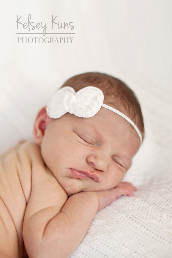 Chiffon Bow Headband or Hair Clip  in Ivory - Skinny Elastic - Newborn Baby to Adult