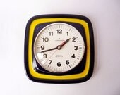 Vintage Ceramic Wall Clock from Junghans Made in Germany