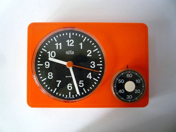 Vintage Wall Clock from Alfa With Kitchen Timer