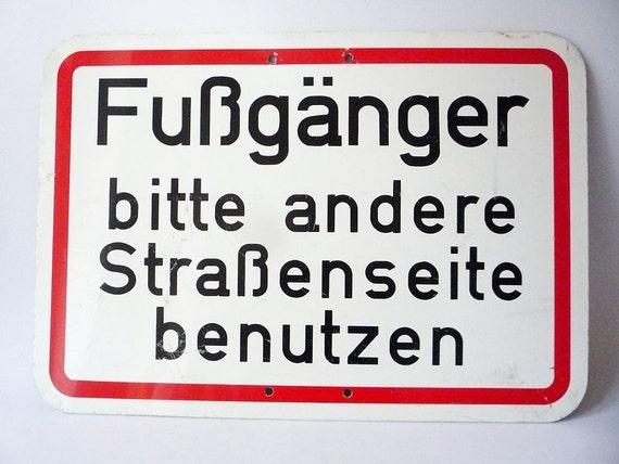 Vintage German Street Sign