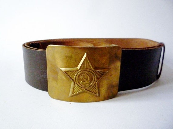 Vintage Soviet Leather Adjustable Belt