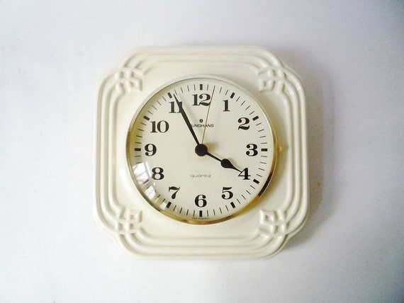 RESERVED for Ambrose - Vintage Ceramic Wall Clock from Junghans Made in Germany