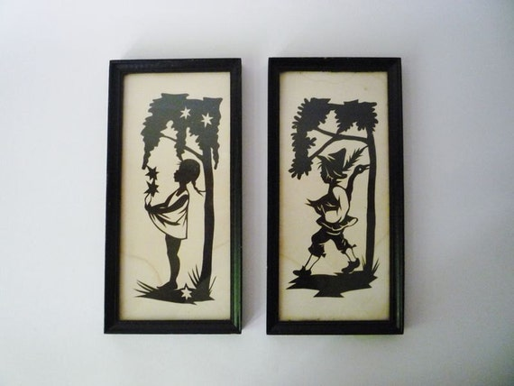 RESERVED - Pair of Vintage Framed Handmade Cut-out