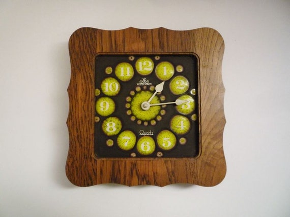RESERVED - Vintage German Wooden and Ceramic Wall Clock from Meister Ancker