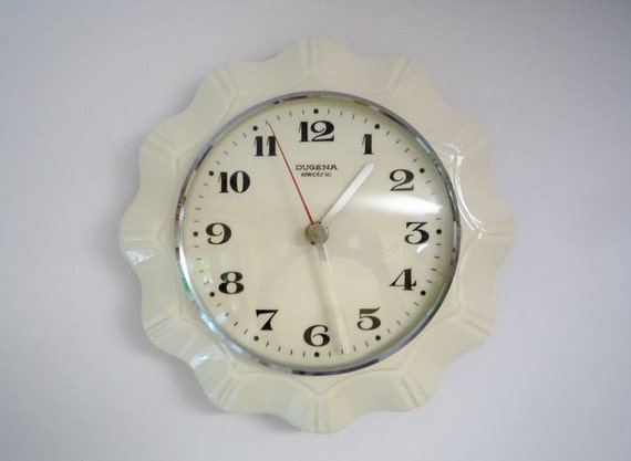 RESERVED - Vintage Ceramic Wall Clock from Dugena Made in Germany