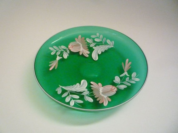 Vintage Handpainted Glass Plate