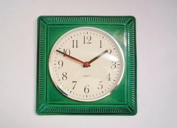 Vintage German Ceramic Wall Clock Made