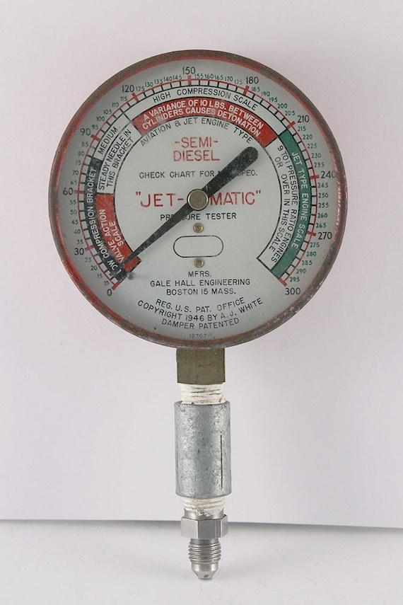 Vintage Jet-Matic Semi/Diesel Pressure Tester Gauge by GALE HALL ENGINEERING