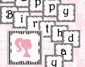 "FASHION party ""Happy Birthday"" banner black / printable"