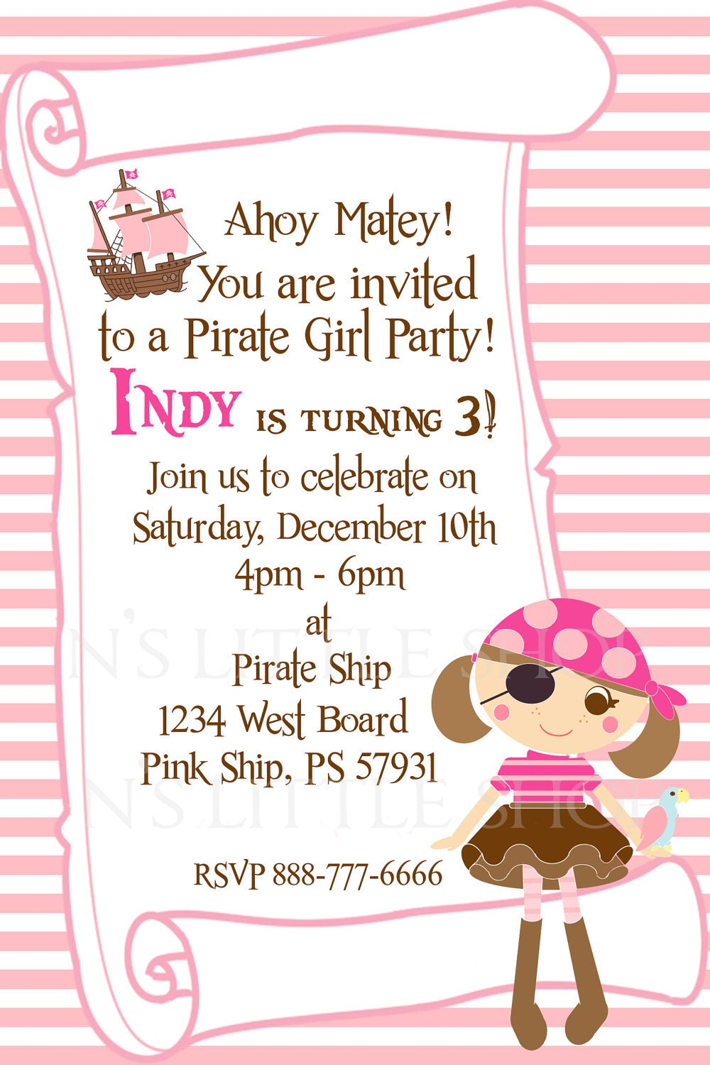 PIRATE GIRL PARTY invitation card for a girl / by nslittleshop
