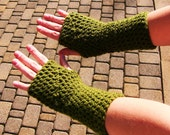 Crochet Fingerless Gloves/Wrist Warmers -  Regular Length - You Choose Color