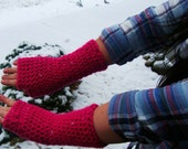 Crochet Fingerless Gloves/Wrist Warmers - Extra Tall w/Thumb - You Choose Color