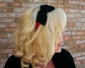 Crochet Bow Headband -Pink Headband with Black Bow