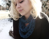 "Crochet ""Thin"" finity Scarf -Teal"