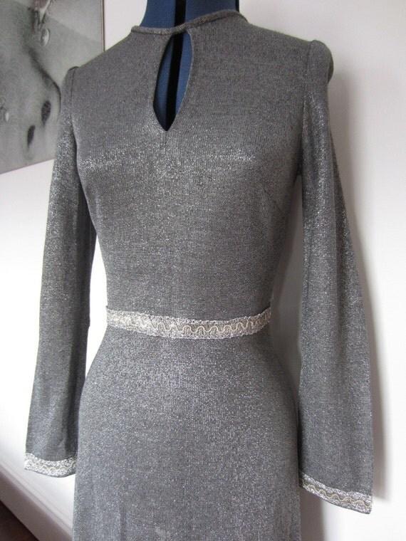 Gorgeous 1960s/1970s silver lurex mini dress XS