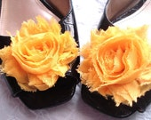 Shabby Chic Rose SHOE CLIPS in YELLOW (many colors available)