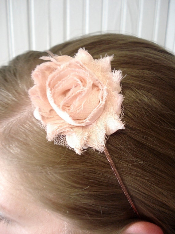 Adult Headband - Vintage PINK Shabby Chic Rose Flower Copper Headband - Mother's Day Sale