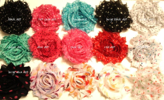 Flower CLIP - Pick FIVE -Shabby Chic Rosette Flower Clip- Gift Set -Chiffon Flower Clip - Toddler Flower Clip - Baby Flower Clip