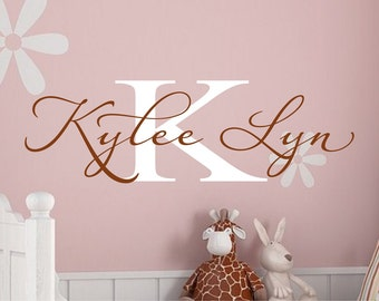 Name Decal - Monogram Vinyl Wall Decal - Personalized Childrens Decor Vinyl Lettering Wall Art