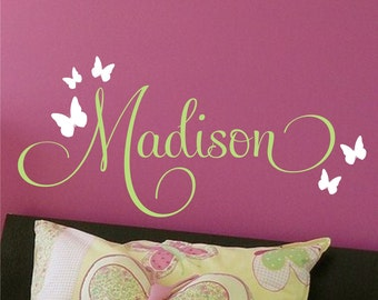 Butterflies Nursery Wall Decal Monogram - Kids Wall Decal - Vinyl Decal - Vinyl Lettering Wall Art
